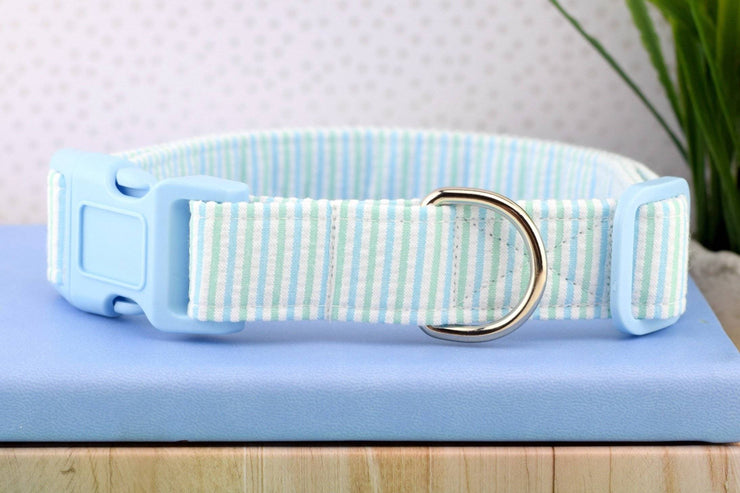 Seersucker Dog Collar - Light Blue & Green