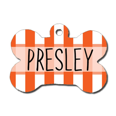 Dog ID Tag - Orange and White Stripe