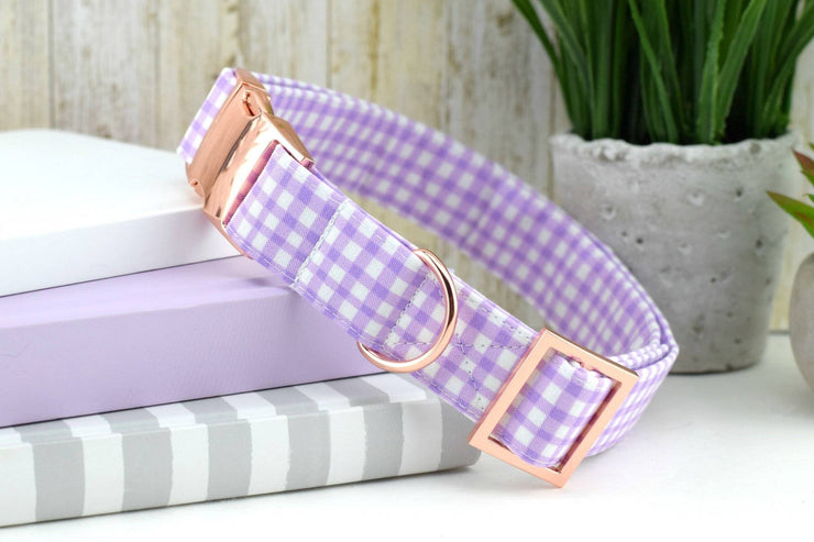 Painted Gingham Dog Collar - Lilac & White