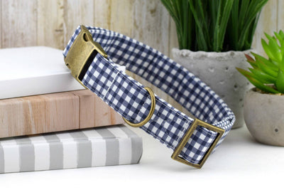 Painted Gingham Dog Collar - Gray & White
