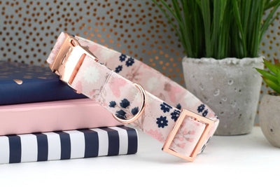 Floral Dog Collar - Blush, Pink, Navy, Rose Gold