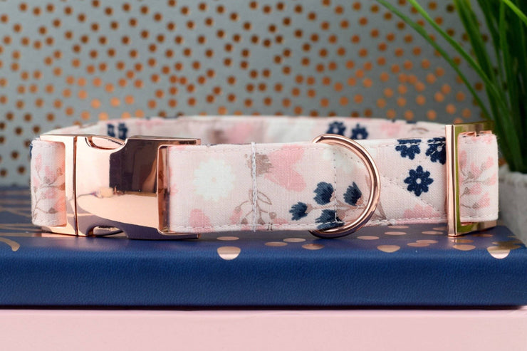 Dog Collar - Blush & Rose Gold Floral