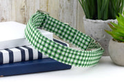 Painted Gingham Dog Collar - Pine Green & White