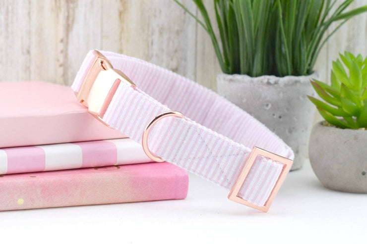 Seersucker Dog Collar - Light Pink & White