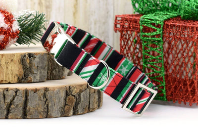 Candy Cane GLITTER Stripe Dog Collar