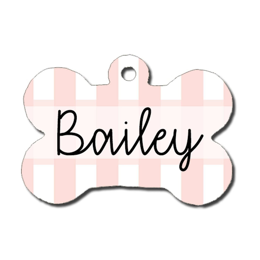 Dog ID Tag - Blush Pink and White Stripe
