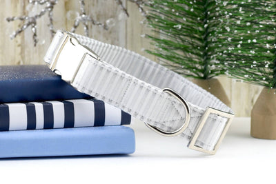 Striped Dog Collar - Silver & White