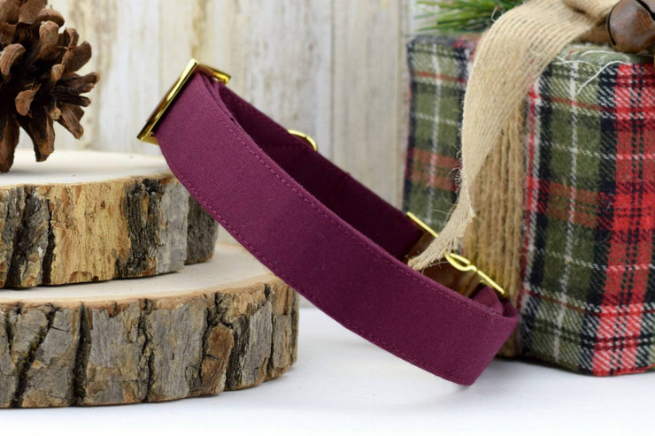 Solid Burgundy Dog Collar