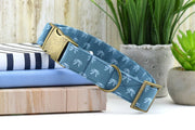 bow dog collar - blue