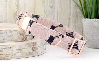 Dog Collar - Metallic Rose Print - Black