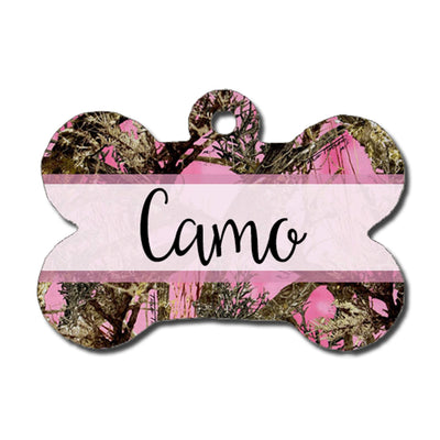 Dog ID Tag - Hunting Camo - Pink
