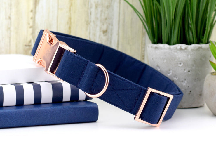 Navy Dog Collar - Solid Navy Cotton Fabric Dog Collar