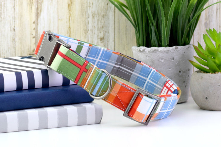 Dog Collar - Madras Plaid in Blue, Green & Orange Fashion Dog Collar