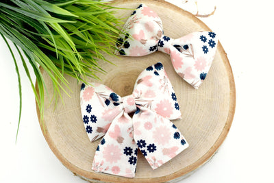 Floral Dog Collar Bow - White, Blush, Navy, Rose Gold ~ Metallic Dog Collar Bow Tie ~ Slide On Bow for Dog Collar ~ Sandy Paws Collar Co