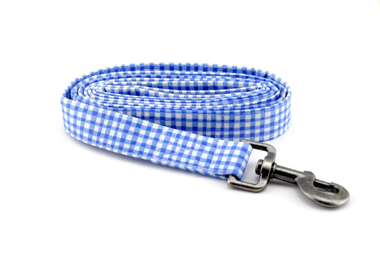 Gingham Fabric Dog Leash - Painted Gingham in Periwinkle Dog Leash