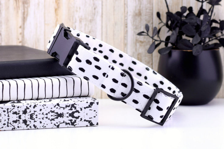 Black and White Brushstroke Dog Collar - Fashion Dog Collar