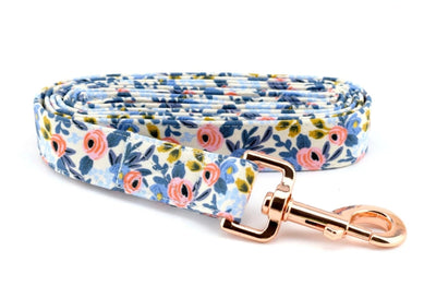 Floral Fabric Dog Leash - Les Fleurs Rosa in Periwinkle Dog Leash
