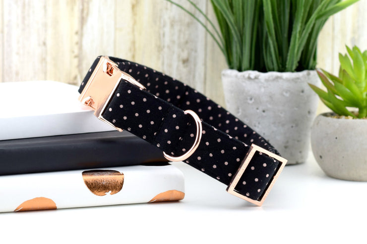 Polka Dot Dog Collar - Black & Rose Gold ~ Metallic Polka Dot Cotton Fabric ~ Fashion Dog Collar ~ Rose Gold Metal Hardware