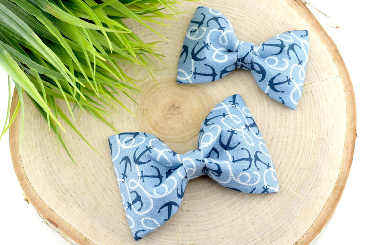 Anchor Dog Collar Bow - Blue Nautical Dog Collar Bow Tie