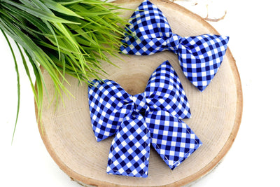 Gingham Dog Collar Bow - Blue ~ Gingham Dog Collar Bow Tie ~ Girly Dog Collar Bow ~ Slide On Bow for Dog Collar ~ Sandy Paws Collar Co