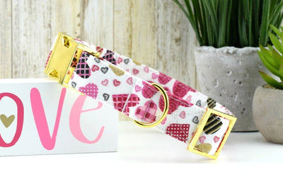 Valentine's Day Dog Collar - Patterned Heart Print Cotton Fabric Dog Collar