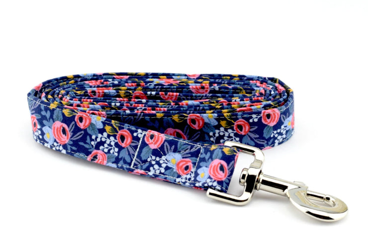 Floral Fabric Dog Leash - Les Fleurs Rosa in Navy Dog Leash