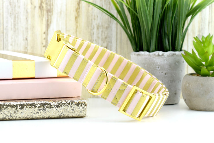 Striped Dog Collar - Yellow Gold & Pink
