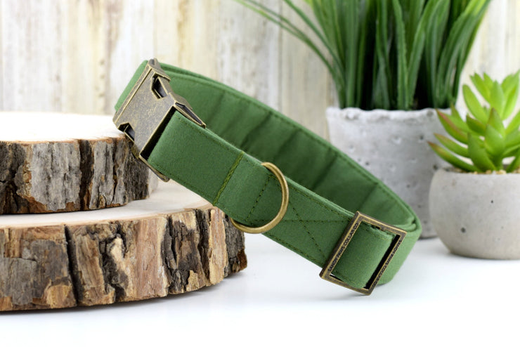 Solid Hunter Green Dog Collar - Fabric Dog Collar