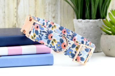 Floral Dog Collar - Periwinkle/Coral Floral Fabric Collar