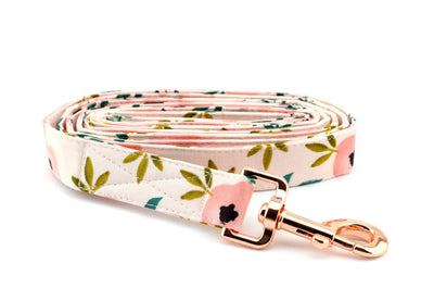 Blush Watercolor Floral Fabric Dog Leash - Pink Floral Dog Leash