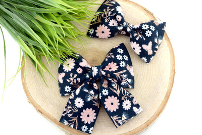Navy, Blush, White, Rose Gold Floral Dog Collar Bow - Dog Collar Bow Tie