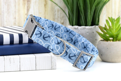 Anchor Dog Collar - Blue Nautical Print Cotton Fabric Collar
