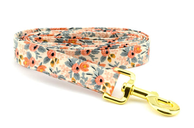 Les Fleurs Rosa Fabric Dog Leash - Peach