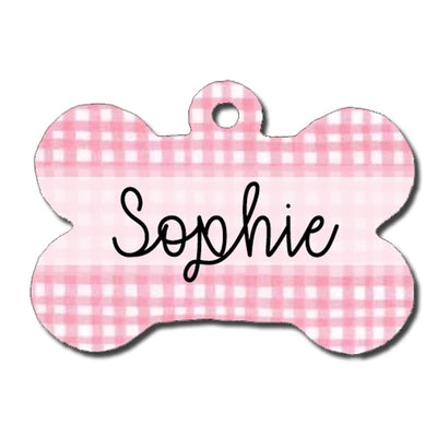 Painted Gingham Dog ID Tag - Light Pink and White Gingham