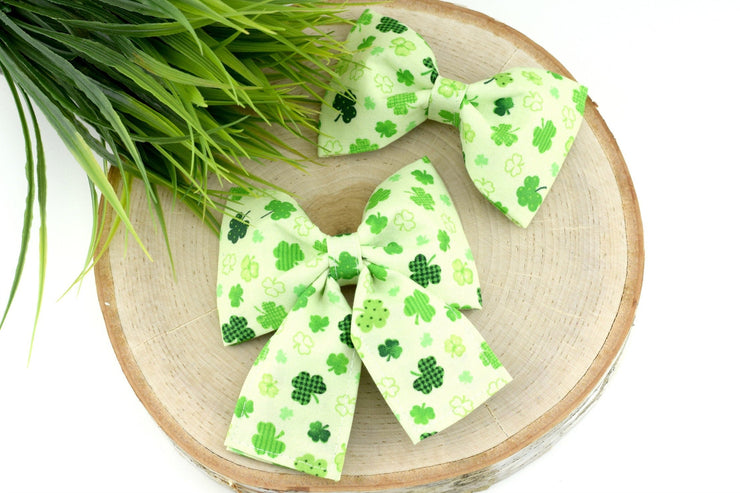 St Patrick's Day Dog Collar Bow - Printed Shamrock on Green Dog Collar Bow Tie