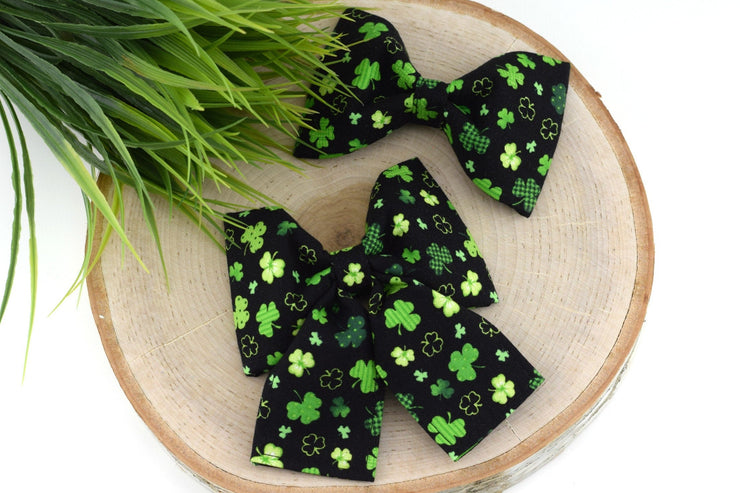 St Patrick's Day Dog Collar Bow - Printed Shamrock on Black Dog Collar Bow Tie