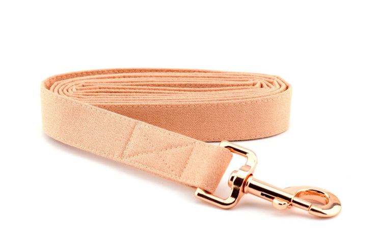 Rose Gold GLITTER Fabric Dog Leash - Rose Fabric with Gold GLITTER Dog Leash