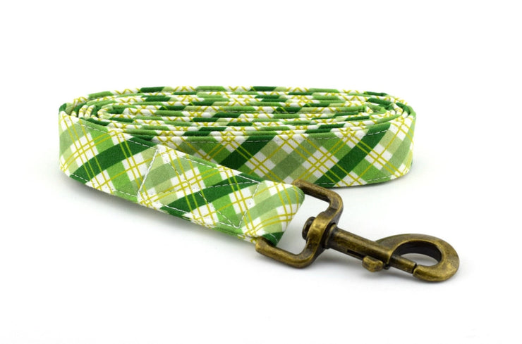 Plaid Fabric Dog Leash - Green & White Plaid Cotton Dog Leash