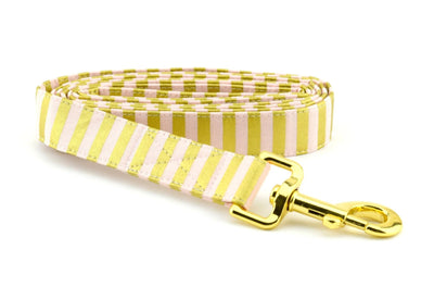 Striped Fabric Dog Leash - Yellow Gold & Pink Striped Dog Leash