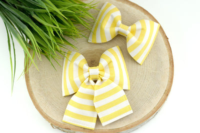 Striped Dog Collar Bow - Yellow & White Striped Bow Tie