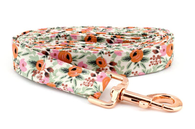 Primavera Rosa Fabric Dog Leash - Beige, Pink, Red