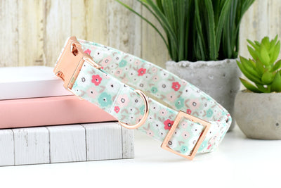 Mint Floral Dog Collar - Rose Gold Metallic Cotton Fabric Dog Collar