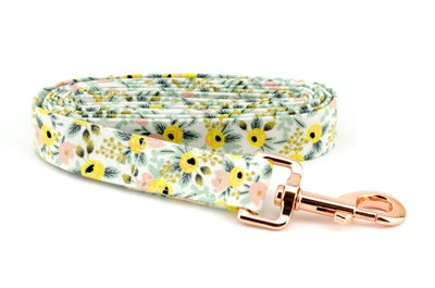 Primavera Rosa Fabric Dog Leash - Cream