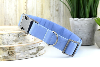 Periwinkle Blue Dog Collar - Solid Cotton Fabric Dog Collar
