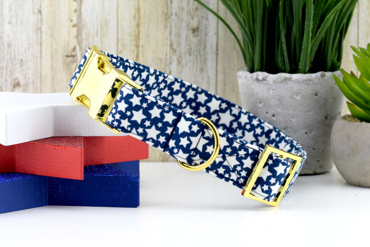 Star Dog Collar - Navy & White ~ Glow
