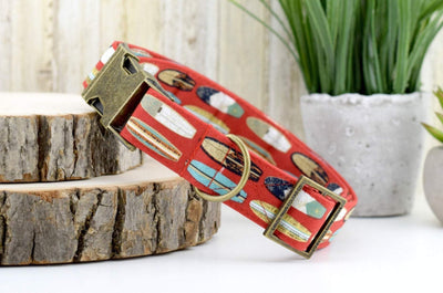 Rustic Surfboard Dog Collar