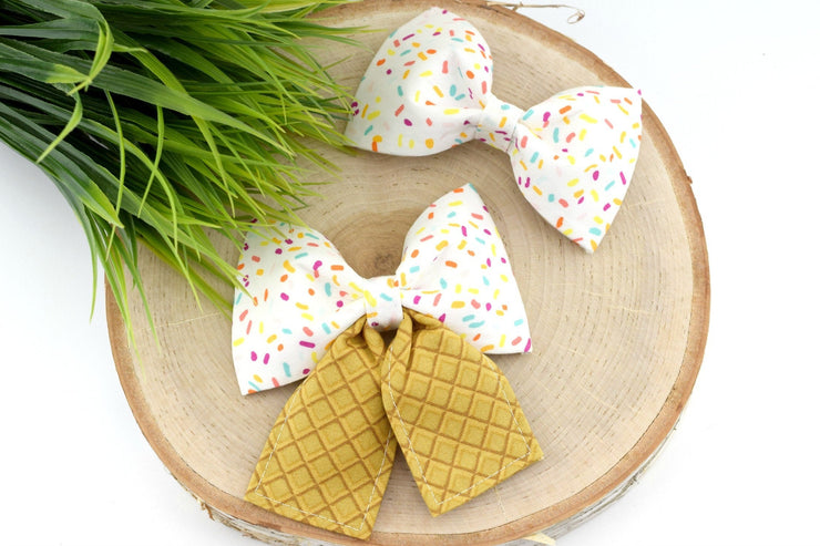 Ice Cream Sprinkles Dog Collar Bow ~ Ice Cream Cone Bow Tie ~ Girly Dog Collar Bow ~ Slide On Bow for Dog Collar ~ Sandy Paws Collar Co