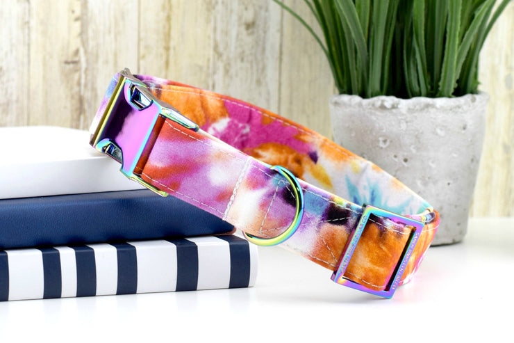 Tie Dye Dog Collar ~ Multi Color Fabric Dog Collar ~ Fashion Dog Collar ~ Custom Dog Collar ~ Rainbow Metal Hardware ~ Sandy Paws Collar
