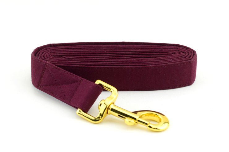 Solid Burgundy Dog Leash ~ Solid Fabric Dog Leash - Fashion Dog Leash ~ Yellow Gold Hardware ~ Sandy Paws Collar Co