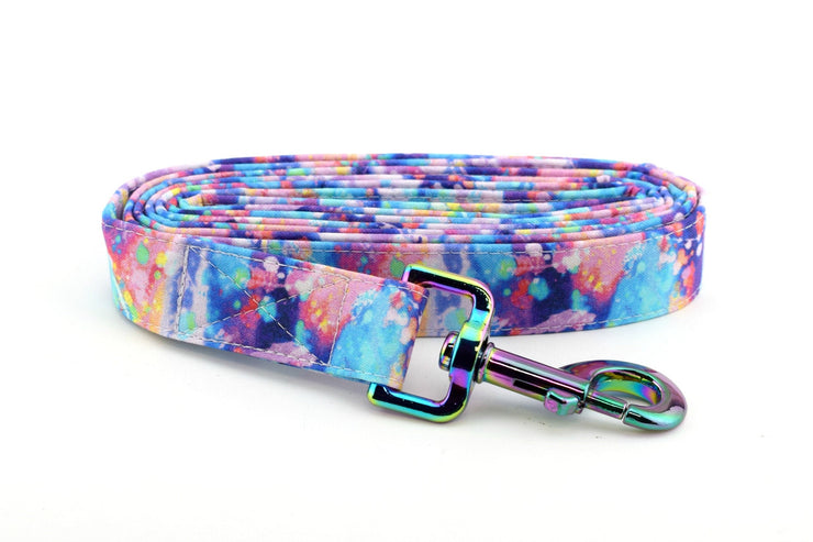 Paint Splatter Dog Leash ~ Rainbow Fabric Dog Leash ~ Fashion Dog Leash ~ Rainbow/Iridescent Hardware ~ Sandy Paws Collar Co